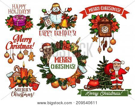 Christmas holidays sketch set for greeting card design. Santa Claus with Xmas tree and gift box, star, ball and candle, snowman, candy cane and gingerbread cookie, sock, calendar and poinsettia flower