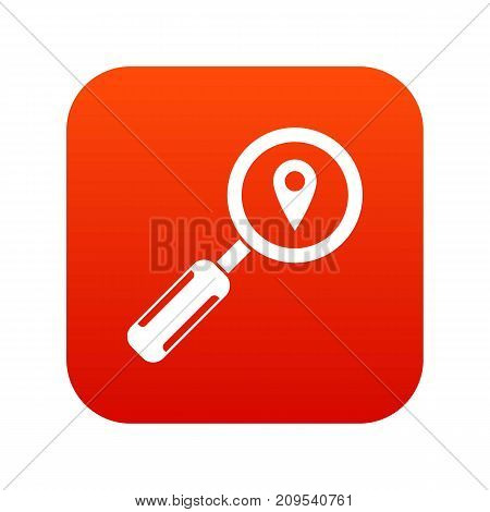 Magnifying glass and map location icon digital red for any design isolated on white vector illustration