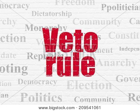 Political concept: Painted red text Veto Rule on White Brick wall background with  Tag Cloud