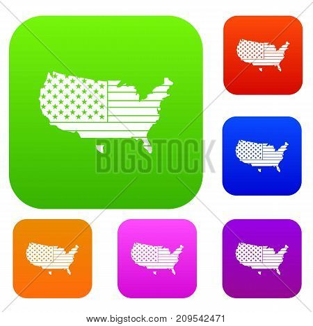 American map set icon color in flat style isolated on white. Collection sings vector illustration