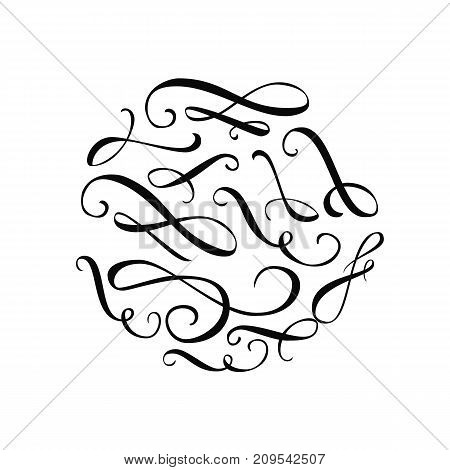 Calligraphy swashes and flourishes. Ornate and elegant design elements
