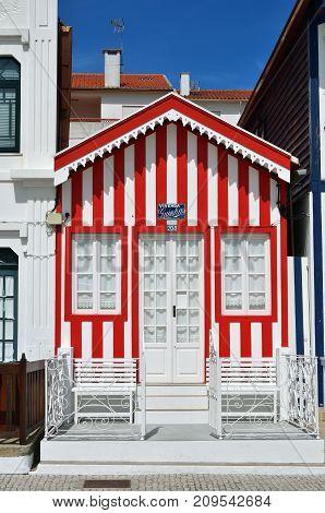 Red Striped Houses, Costa Nova, Beira Litoral, Portugal, Europe