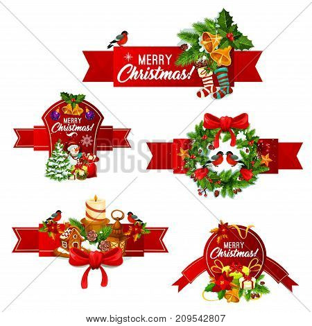 Merry Christmas ribbon banner set of winter holidays celebration. Xmas tree and holly berry wreath with gift box, snowflake, star and bell, candle, snowman, gingerbread cookie and stocking sock