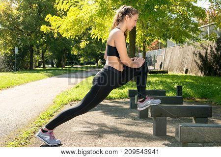 a cute young woman sporty girl workout outdoor