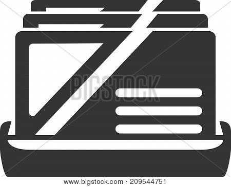 Business Card Holder - Contacts Display. Icon or Sign Element for Social Information Collection, Desktop Accessories, Businesses and Corporations Catalog Organizer. Label for Personal Info Stock and Client / Customer / Guest Reception Stand. poster