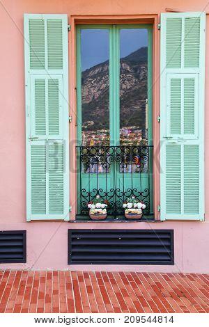 Window With Shutters In Monaco-ville, Monaco.