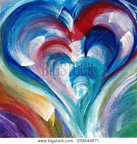Acrylic painting on canvas of broad brush strokes forming heart shape