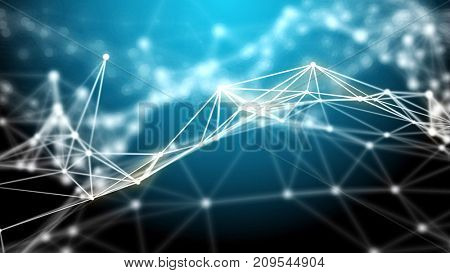 Blue futuristic technology abstract background. Plexus light lines and nodes. Abstract technology and engineering background. Depth of field settings. 3D rendering.
