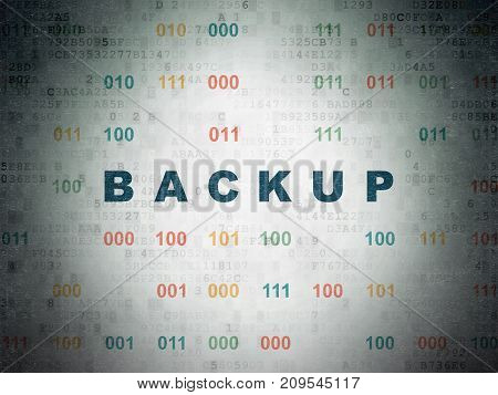 Database concept: Painted blue text Backup on Digital Data Paper background with Binary Code