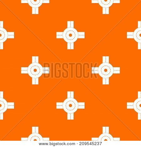 Big road junction pattern repeat seamless in orange color for any design. Vector geometric illustration