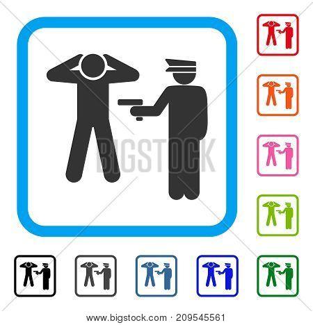 Arrest icon. Flat grey iconic symbol inside a light blue rounded rectangular frame. Black, gray, green, blue, red, orange color variants of Arrest vector. Designed for web and software UI.