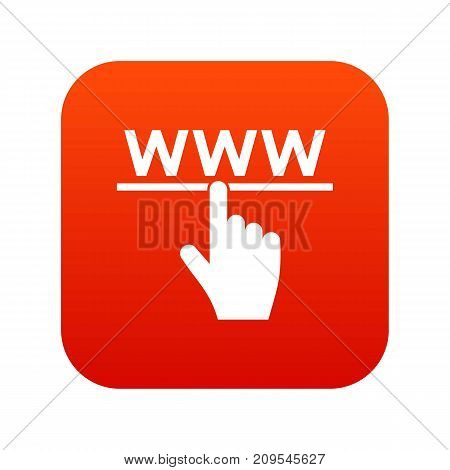 Hand cursor and website icon digital red for any design isolated on white vector illustration