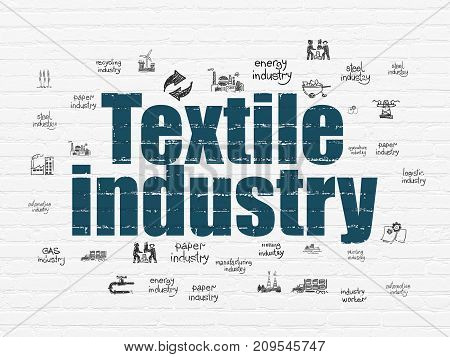 Industry concept: Painted blue text Textile Industry on White Brick wall background with  Hand Drawn Industry Icons