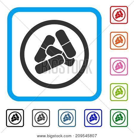 Drugs Pills icon. Flat gray pictogram symbol in a light blue rounded rectangle. Black, gray, green, blue, red, orange color additional versions of Drugs Pills vector.