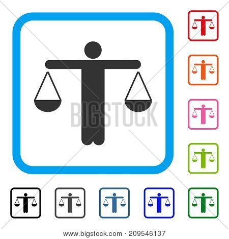 Lawyer Weight icon. Flat gray pictogram symbol in a light blue rounded frame. Black, gray, green, blue, red, orange color versions of Lawyer Weight vector. Designed for web and app user interface.