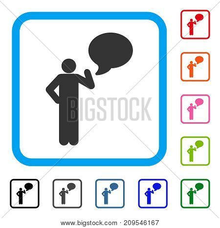 Man Idea Balloon icon. Flat grey pictogram symbol in a light blue rounded squared frame. Black, gray, green, blue, red, orange color variants of Man Idea Balloon vector.