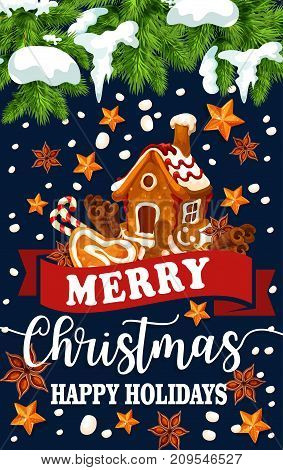 Merry Christmas Happy Holidays greeting card of gingerbread cookie house decoration on Christmas tree. Vector golden stars and snowflakes on red ribbon and snow for New Year winter seasonal wishes