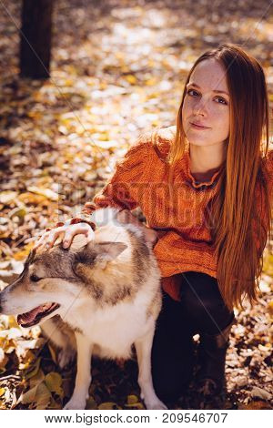red-haired young girl sits in a park with her big dog, around fallen autumn leaves,