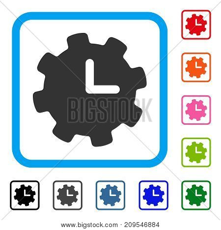 Time Settings icon. Flat gray pictogram symbol inside a light blue rounded rectangular frame. Black, gray, green, blue, red, orange color variants of Time Settings vector.
