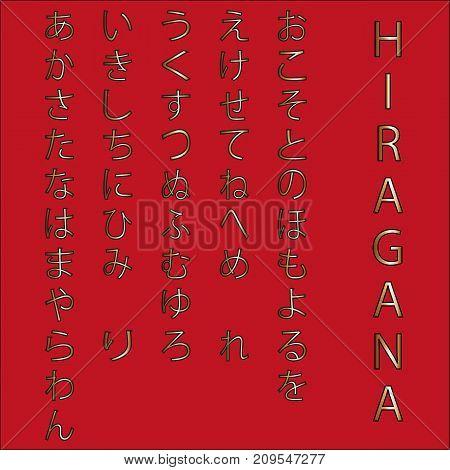 Japanese hiragana alphabet, golden hieroglyph on red backdrop.
