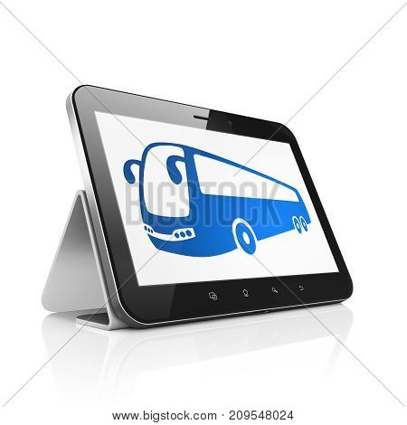 Travel concept: Tablet Computer with  blue Bus icon on display,  Tag Cloud background, 3D rendering