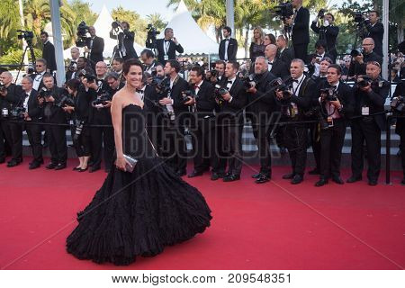 CANNES, FRANCE - MAY 22, 2015: Linda Hardy  attends the 'Little Prince' ('Le Petit Prince') premiere. 68th annual Cannes Film Festival at the Palais des Festivals