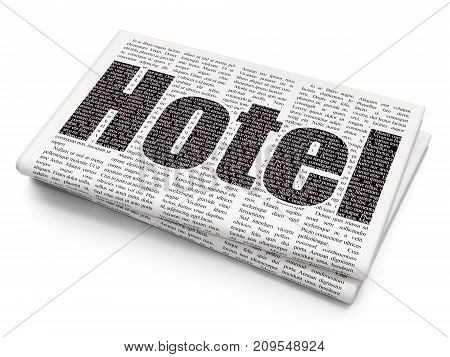 Vacation concept: Pixelated black text Hotel on Newspaper background, 3D rendering