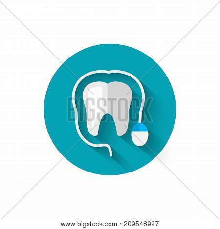 Tooth icon and computer mouse, illustrated in a flat design style of vector illustration. Modern icon of dentistry. Website and design for mobile applications and other your projects.