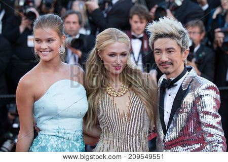 CANNES, FRANCE - MAY 21, 2015:  Nina Agdal, Paris Hilton  attend the 'Inside Out' premiere. 68th annual Cannes Film Festival at the Palais des Festivals