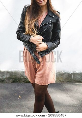 young woman wearing leather jacket, man, fashion, style