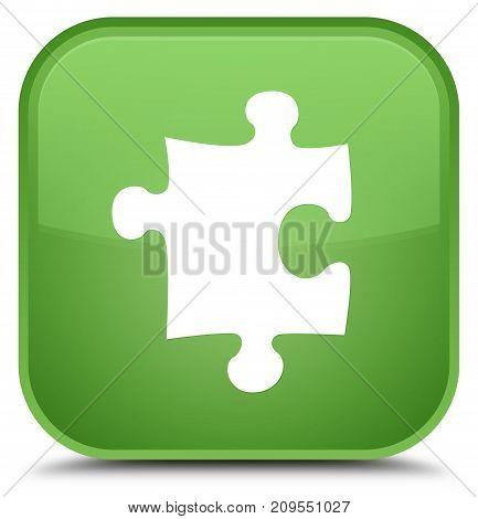 Puzzle Icon Special Soft Green Square Button