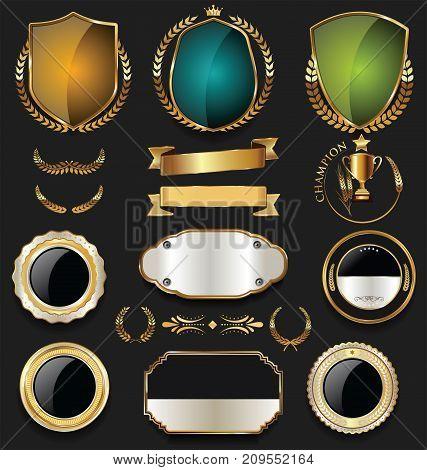 Golden Shield Laurel Wreath And Badge Retro Design Collection 2.eps