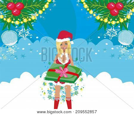 Beautiful girl in Christmas costume , vector illustration