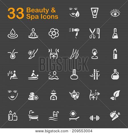 Beauty and Spa vector icons for mobile phone interface and web.