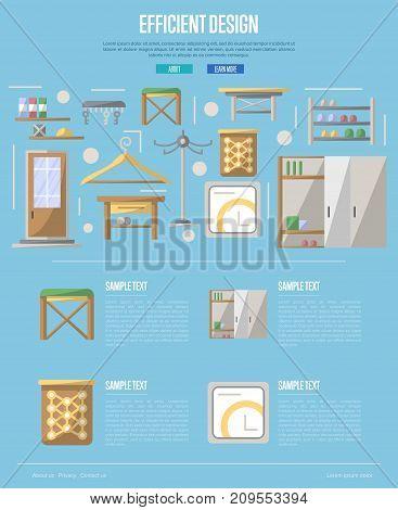 Efficiency hallway space decoration poster. Corridor interior design, stylish apartment decor and renovation. Interroom door, clothes hanger, bookshelf, cupboard, tabouret vector illustration
