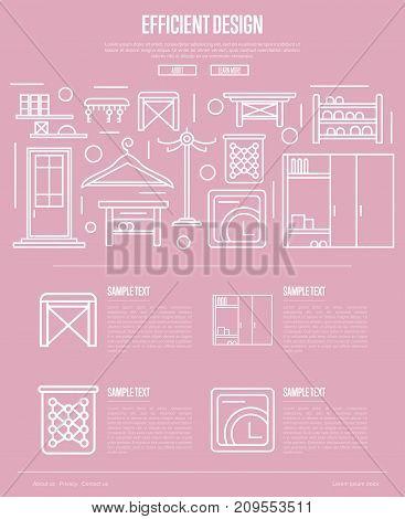 Efficiency hallway space design poster. Corridor interior design, stylish apartment decor and renovation. Interroom door, clothes hanger, bookshelf, cupboard, tabouret linear vector illustration