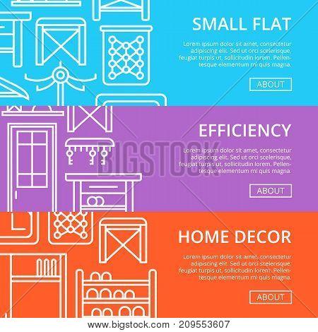 Efficiency hallway space decoration linear poster set. Small flat interior design, stylish apartment renovation. Interroom door, clothes hanger, bookshelf, cupboard, tabouret vector illustration