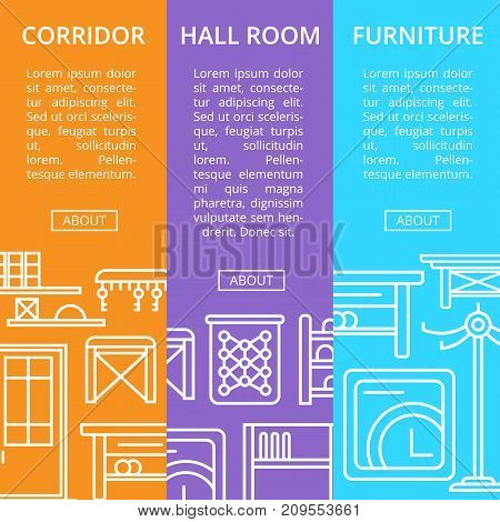 Corridor furniture linear poster set. Hallway interior design, stylish apartment decor and renovation. Interroom door, clothes hanger, bookshelf, cupboard, tabouret, key hanger vector illustration