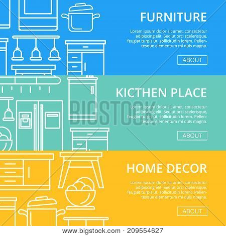 Kitchen place linear poster set. Home interior design, modern apartment decoration, furniture renovation. Cooking table, wash basin, gas stove, refrigerator, stool, air extractor vector illustration.