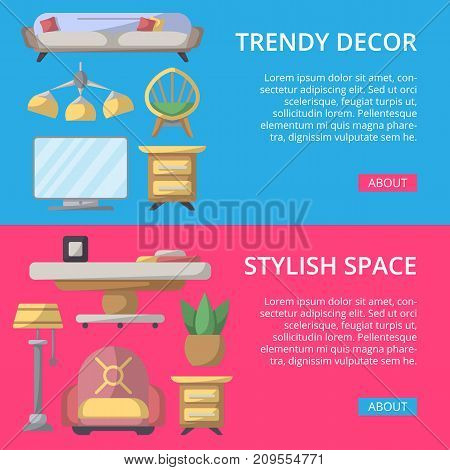 Stylish and cozy home space poster set. Living room interior renovation and modern apartment decoration. Bed, sofa, armchair, hanging lamp, bedside table, lcd tv, coffee table vector illustration