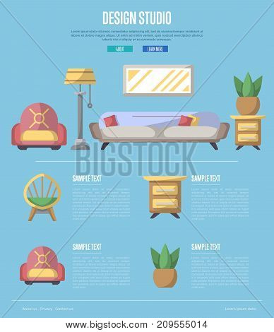 Design studio poster. Stylish and cozy home space, interior renovation and modern apartment decoration. Bed, sofa, armchair, hanging lamp, bedside table, lcd tv, coffee table vector illustration.