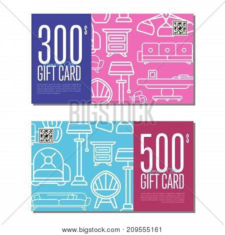 Gift card linear set for living room furniture. Stylish home space interior renovation certificate, apartment decoration discount voucher. Bed, sofa, armchair, lamp, bedside table vector illustration
