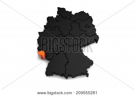 black germany map, with Saarland region, highlighted in orange.3d render