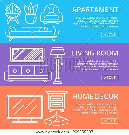 Modern apartment decoration linear poster set. Stylish and cozy living room space, home interior renovation. Bed, sofa, armchair, hanging lamp, bedside table, lcd tv, coffee table vector illustration