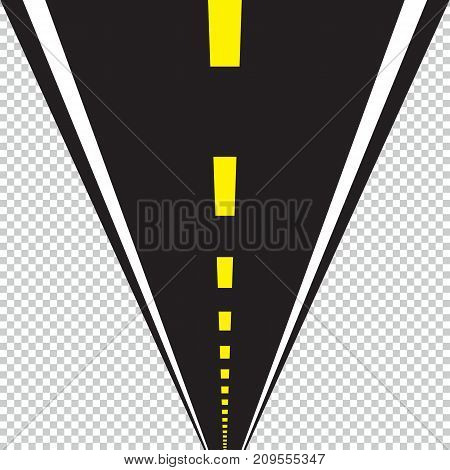 Road long perspective vector illustration. Isolated template