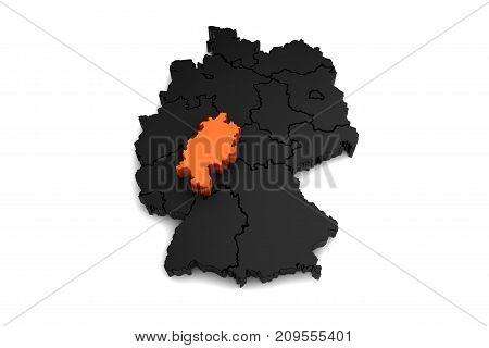 black germany map, with Hessen region, highlighted in orange.3d render