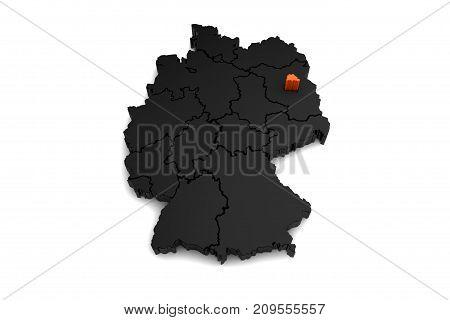 black germany map, with Berlin region, highlighted in orange.3d render
