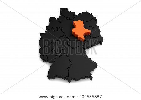 black germany map, with Sachsen-Anhalt region, highlighted in orange.3d render