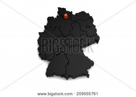 black germany map, with hamburg region, highlighted in orange.3d render