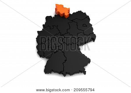black germany map, with schleswig-holstein region, highlighted in orange.3d render